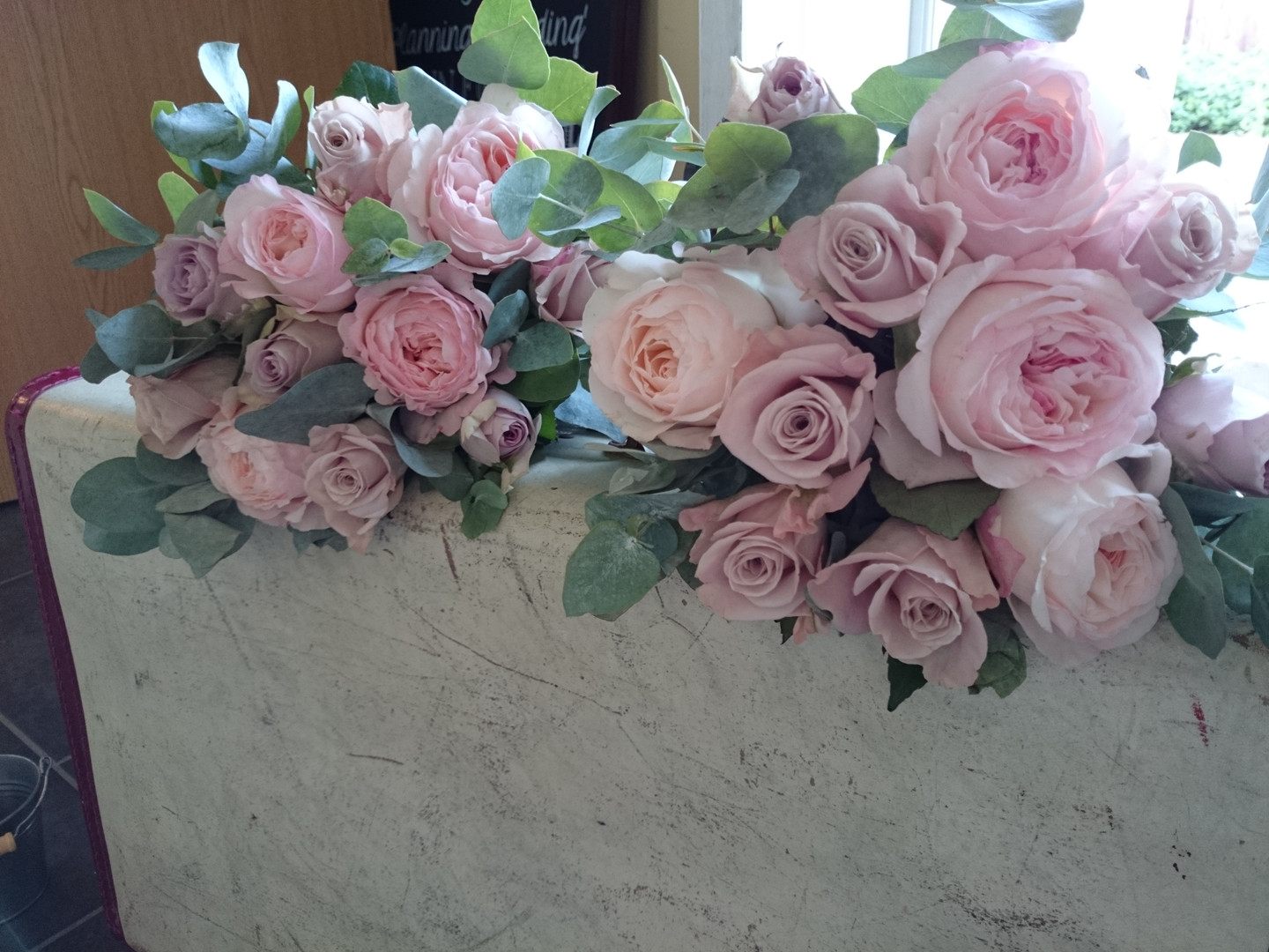 Pastel pink and lilac garden rose bridal bouquets
