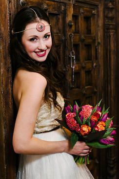Bollywood Boho bride bright bouquet