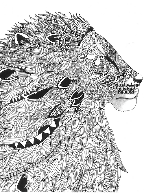 Small Lion Signed Print - Zentangle!