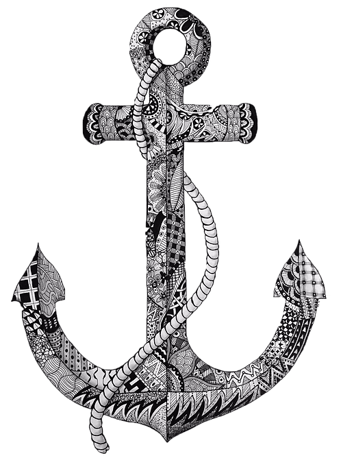 Small Anchor Signed Print - Zentangle!