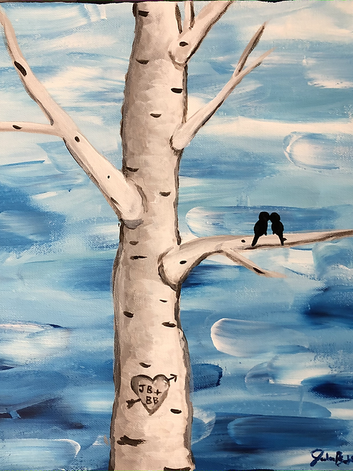 Winter Love Birds/Swirled Blue Sky