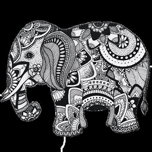 Small Elephant Signed Print - Zentangle!