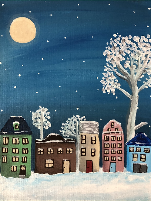 ACRYLIC Peaceful Winter Town