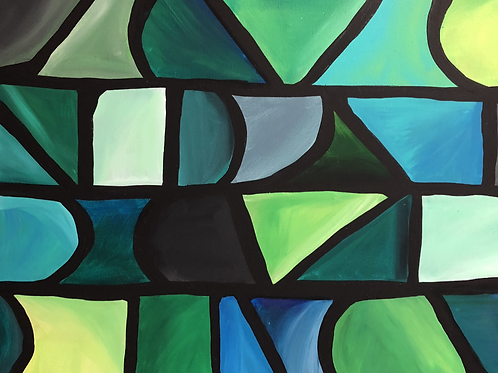 Abstract Green Ombre Shapes