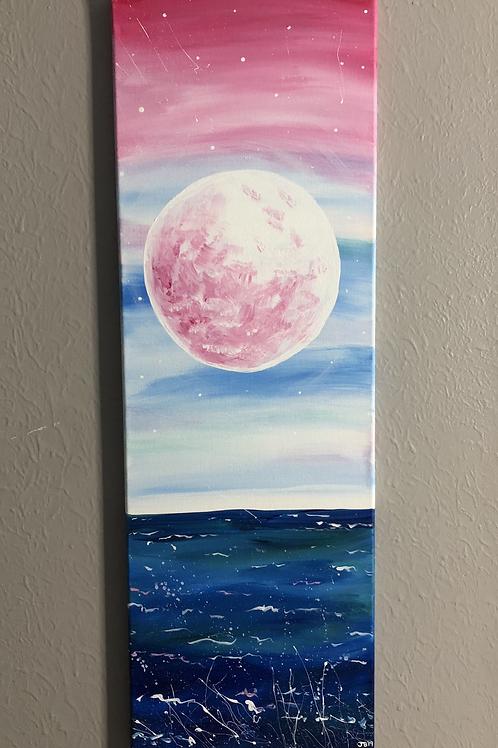 Pink Moon Over the Ocean!