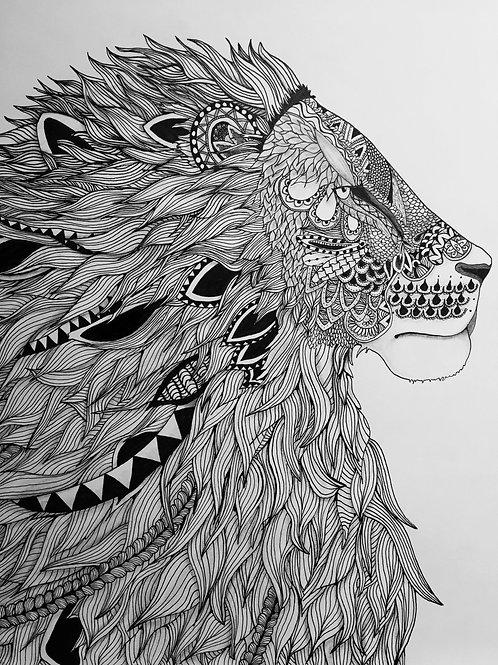 Zentangle Lion Print