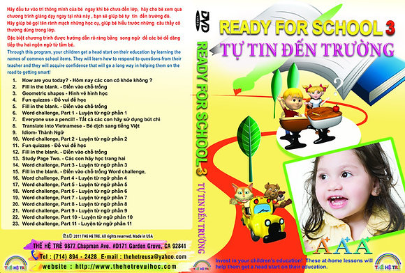 DVD TỰ TIN ĐẾN TRƯỜNG -READY FOR SCHOOL - CUỐN 3