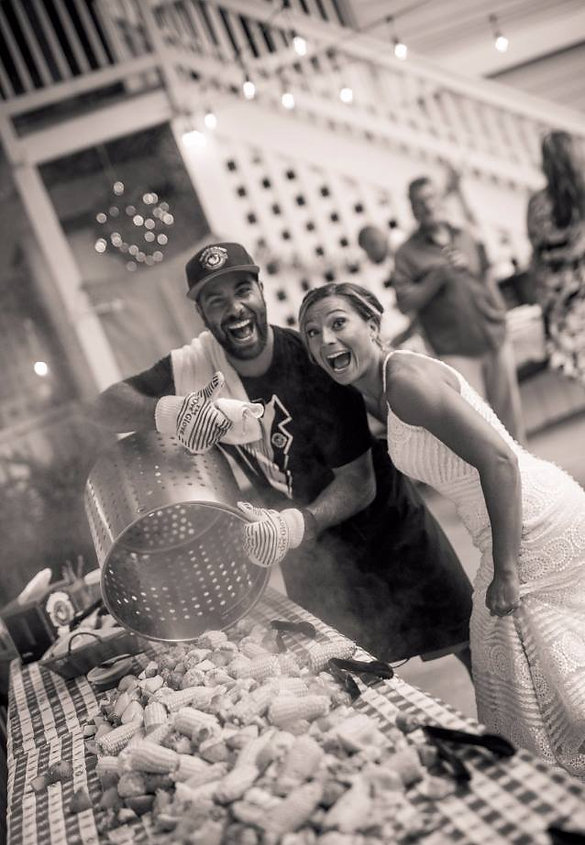 Happy Bride at Outer Banks Boil Company catered Signature Seafood Boil