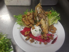 Grilled chicory pear and goat cheese sal