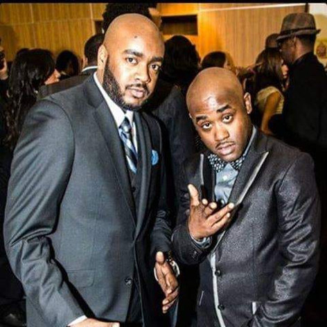 """Chad Eric Smith w/ actor Tray Chaney at the premiere of the film """"6 Hearts 1 Beat"""". (December 15, 2013)"""