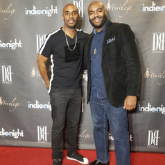 """Chad Eric Smith w/ Dave Brown, founder of the Indie Night Film Festival, at the Hollywood premiere of """"Rumination"""". (December 15, 2018)"""