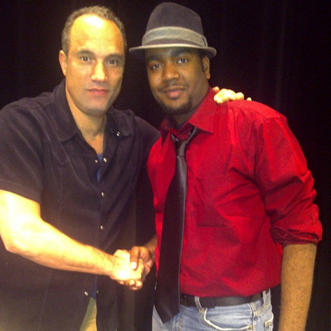 """Chad Eric Smith w/ actor Roger Guenveur Smith following a panel discussion of Spike Lee's """"Do the Right Thing"""" at the August Wilson Center in Pittsburgh, PA. (May 27, 2011)"""