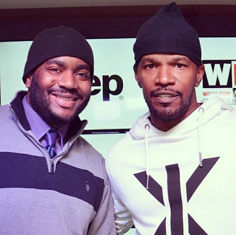 Chad Eric Smith w/ Academy Award-Winning Actor, musician, and comedian Jamie Foxx at DC Lottery Live's performance venue. (Photo courtesy of Brian Fagin/WPGC - April 23, 2015)