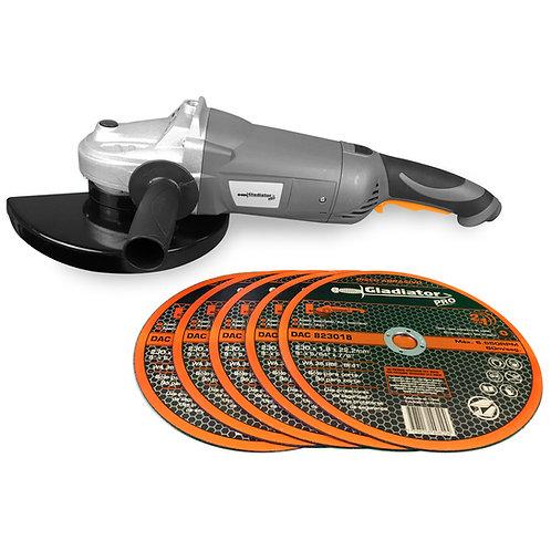 "Amoladora angular 9"" - 230mm 2300W c/ 5 discos DAC823018 Gladiator"
