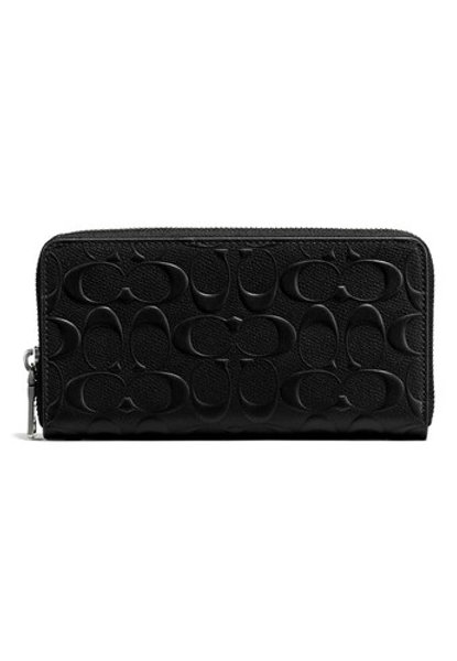 finest selection 7a074 9c855 COACH F58113 coach wallet long wallet men round fastener leather signature  black | aeu-premium-store