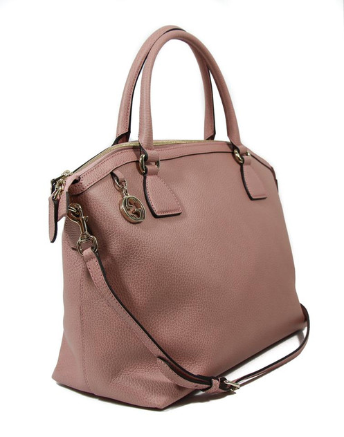 f0cc8e373c1a GUCCI 449660 Interlocking G Charm Leather Satchel Handbag Brand: Gucci  Condition: New with Tag Style: 449660. Color/Material: Soft Pink 5806 /  Leather