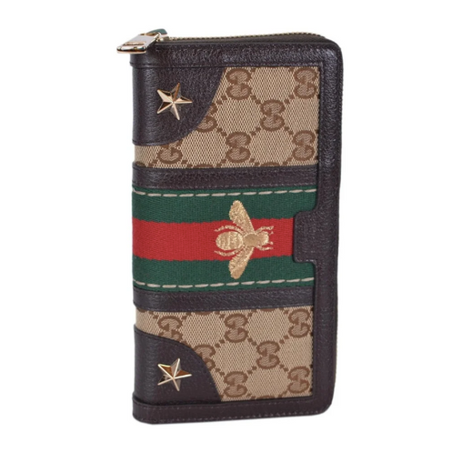 eafd794bd61 Gucci GUCCI Brand name  GG canvas sherry line bee embroidery round fastener  long wallet. Vintage Web B embroidery wallet