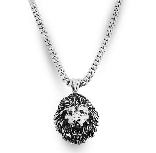 Lion Large Necklace Silver