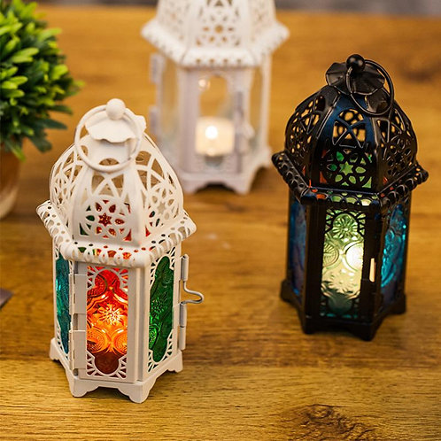 Moroccan Style  Candle Holder Votive Hanging Lantern Wrought Iron Glass Lantern