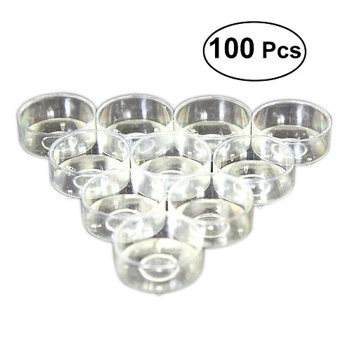 100 Pcs Plastic Candle Holder Clear Candle Cup in Clear Color Small Cylinder