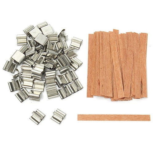 50Pcs 6, 8, 12.5, 13 Wooden Candles Wick With Sustainer for Candle Making Supply