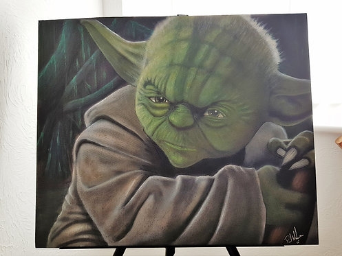 Yoda - Airbrushed - on flat canvas