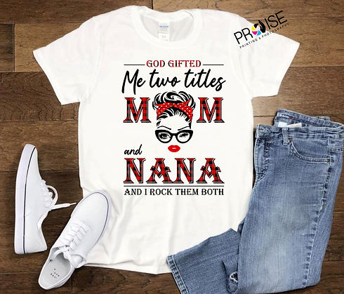 mock up white shirt jeans mom nana grann