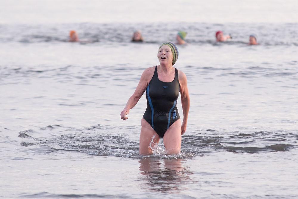 Sue Lieper enjoying her dip: Photo credit: Anna Deacon