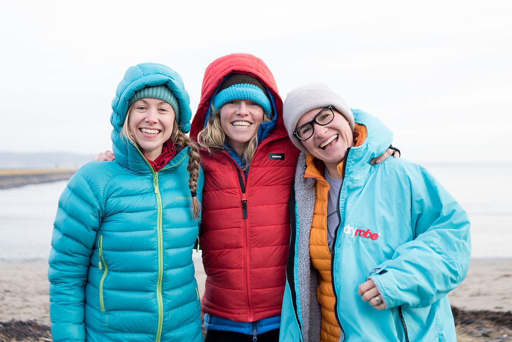 Hazel, Lindsay and Gilly at the International Women's Day Swim 2019. Photo credit: Anna Deacon