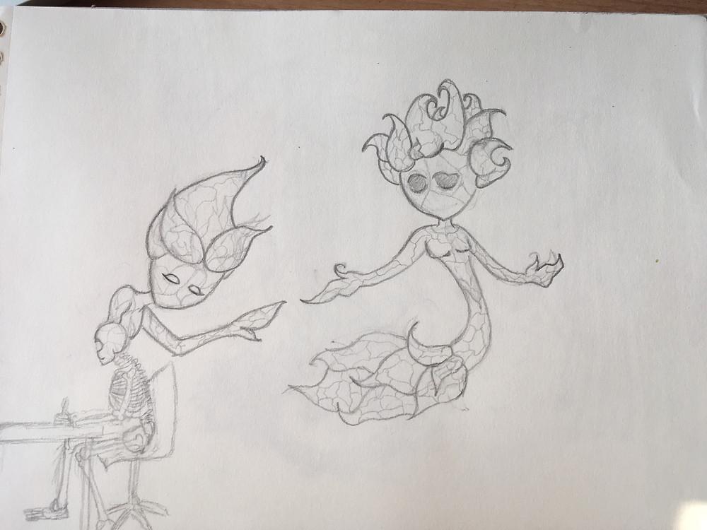 Boceto de los personajes