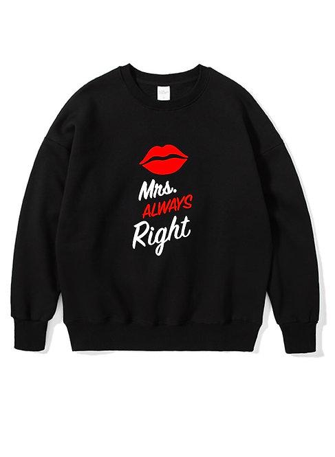Mrs. Right Front Crewneck black