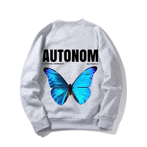 Back Blue Butterfly Crewneck
