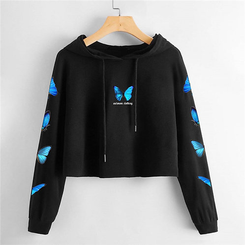 Full Blue Butterfly Crop Hoodie