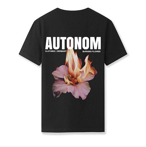 Burning Flower Shirt Black