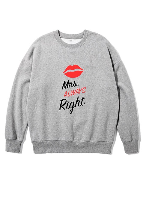 Mrs. Right Front Crewneck grey