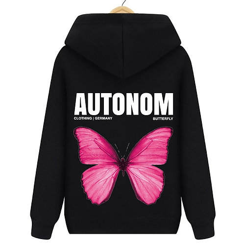 Back Pink Butterfly Hoodie