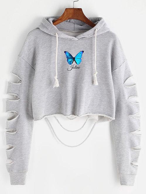 Blue Butterfly Crop Hoodie