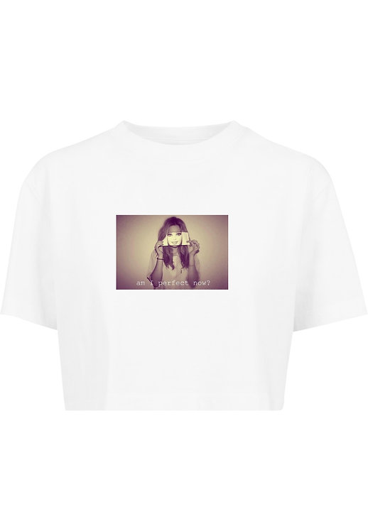Am I Perfect Crop T-Shirt White