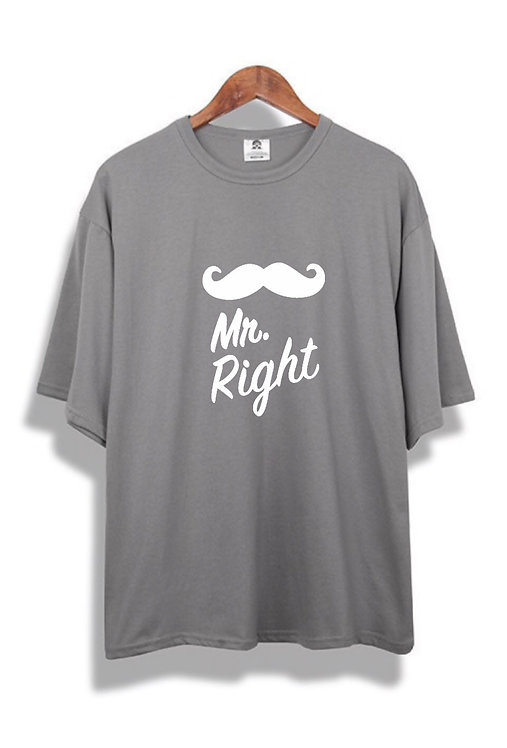 Mr. Right Front Tee grey