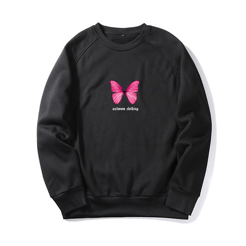 Pink Butterfly Crewneck
