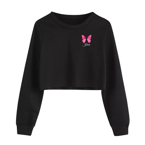Pink Butterfly Crop Sweater
