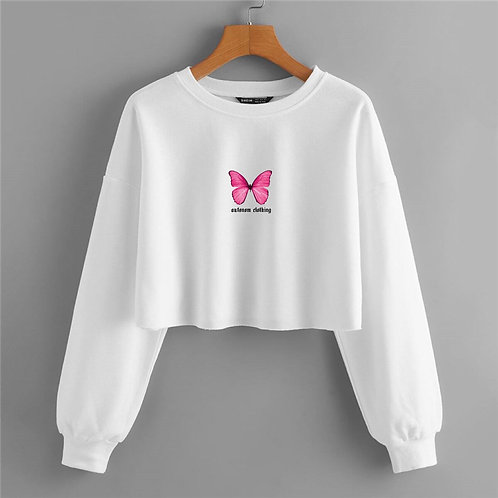 Pink Butterfly Crop Crewneck