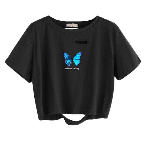 Blue Butterfly Crop Shirt