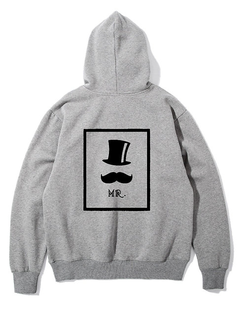 Mr. Right Back Hoodie grey