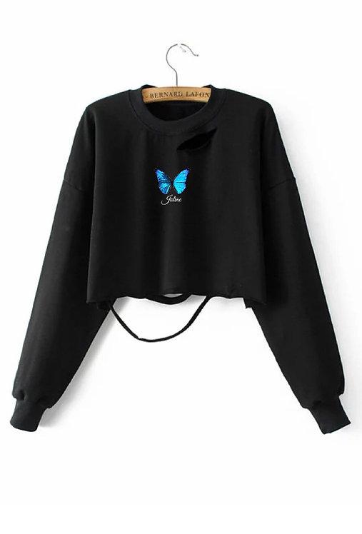 Blue Butterfly Crop Sweater