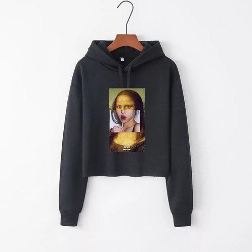 Freaky Mona Crop Hoodie Black