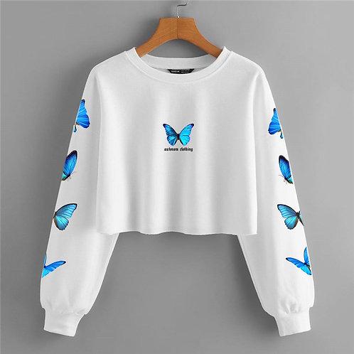 Full Blue Butterfly Crop Crewneck