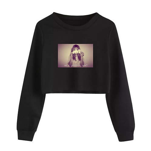 Am I Perfect Crop Crewneck Black
