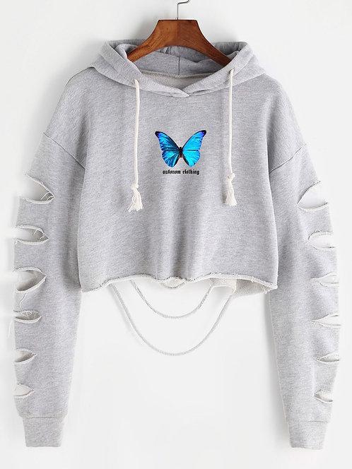 Blue Butterfly Dis Crop Hoodie