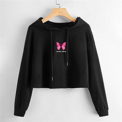 Pink Butterfly Crop Hoodie